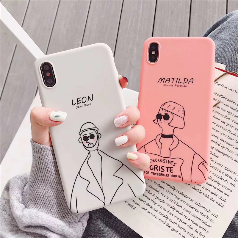 Ottwn Lovely Couples Killer Phone Case For iPhone 7 6s 8 Plus Leon Matilda Cartoon Cases Soft TPU Plain Cover XR XS Max Matte X