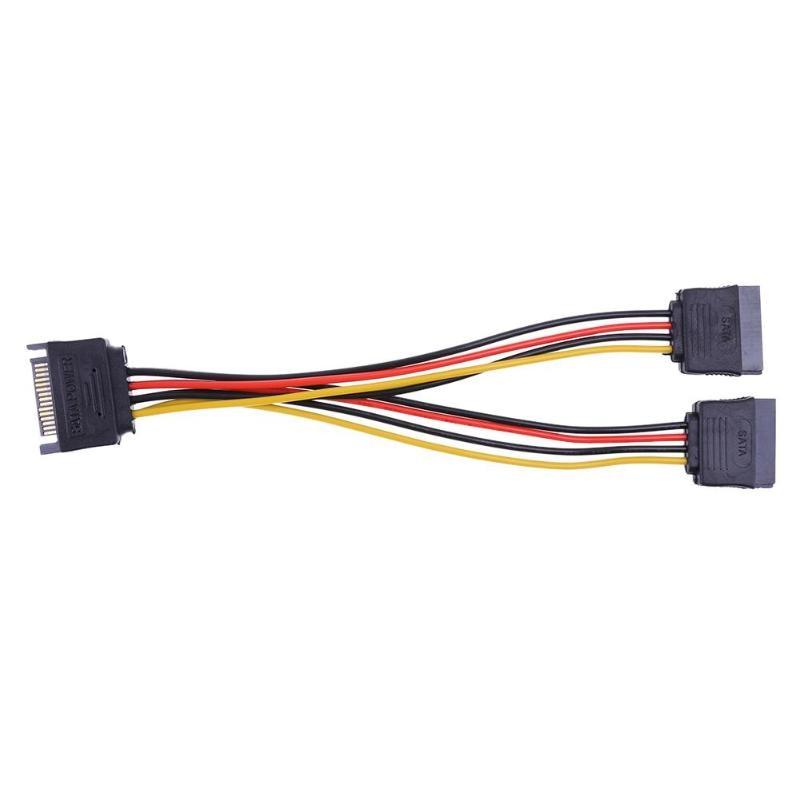 15Pin SATA Male to Female 2 распределитель SATA кабель адаптер питания шнур Удлинитель провод для жесткого диска сплиттер разъем 20 см
