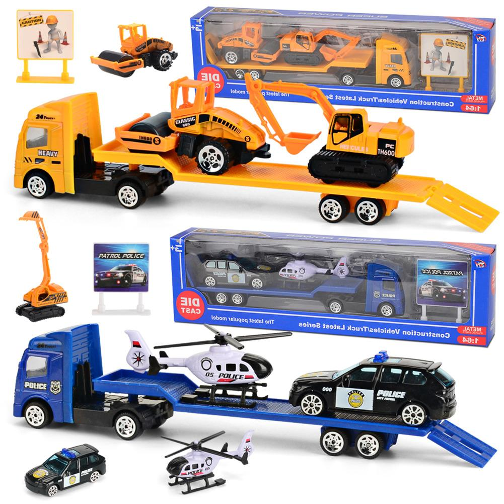 Car Model Kit 1: 64 Trailer Toy Trailer Trucks Toy Alloy Engineering Trailer Loader Truck Model Car Toys Set For Boys Kids