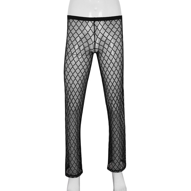 a84a4b6f08a0 Men Soft Mesh Pants Mens Fishing Net See Through Sheer Home Lounge Pants  Sexy Sports Trousers