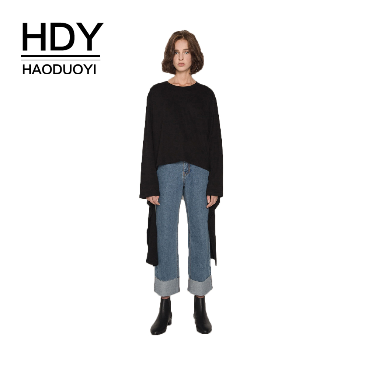 HDY Haoduoyi Street College Wind Loose Cuff Personality Ribbon Top Casual Black New Arrival Autumn