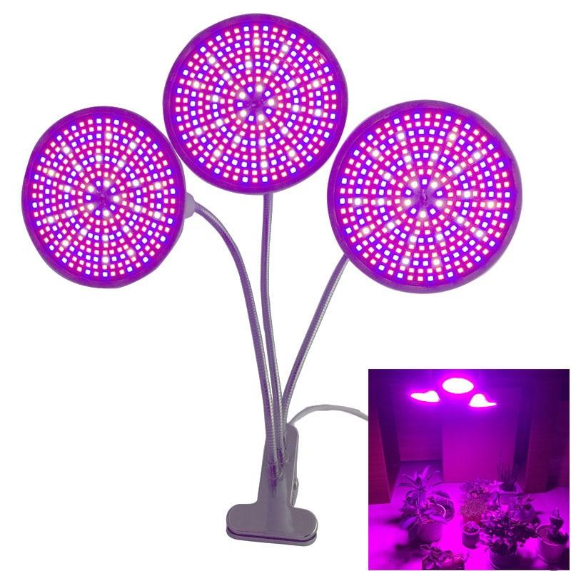 3 tête 290 led poussent lumière serre serre serre hydrotent Lampe de plante de graines hydroponiques à spectre complet