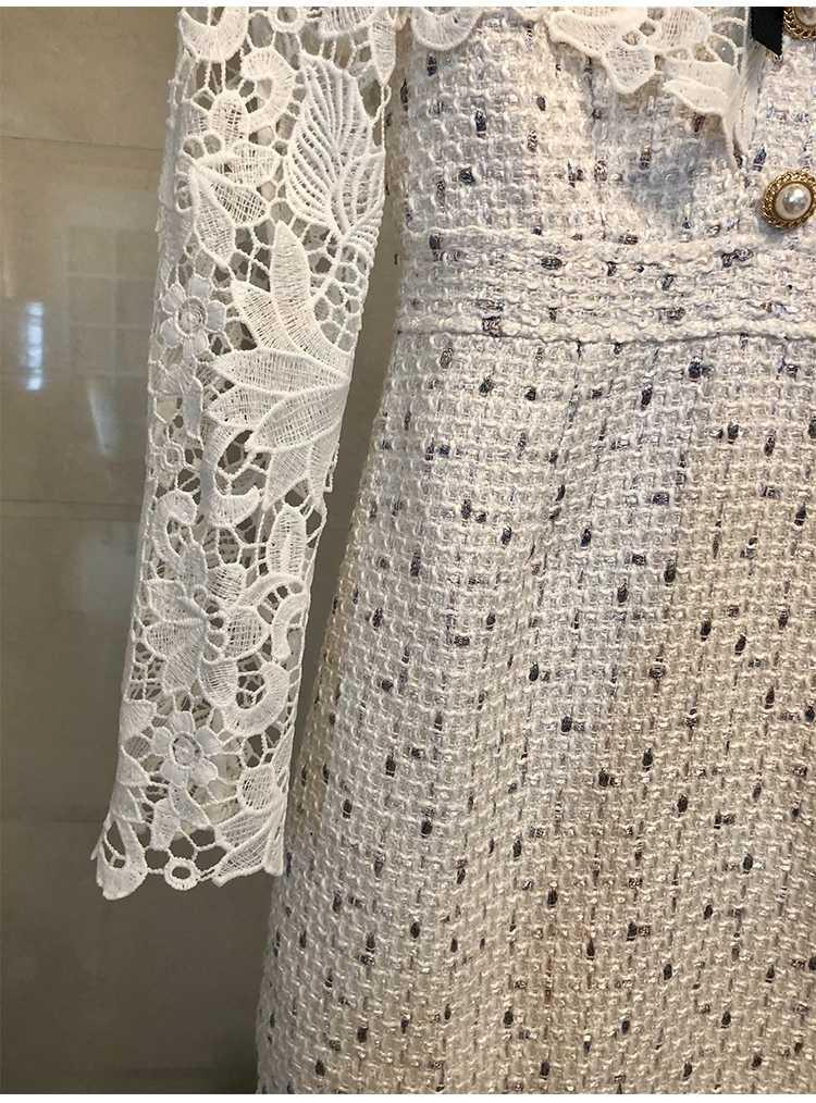 אביב 2019 נשים חדשות אלגנטי תחרה תפרים טוויד שמלת Vestidos גבירותיי ארוך שרוול חלול את היהלומים Bow מתוק מיני שמלה