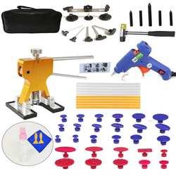 57pcs/Set Metal Painless Dent Repair Dent Lifter-Glue Puller Tab 20W Glue Machine Hail Removal Paintless Car Dent Repair Tools