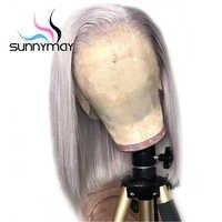 Sunnymay 13x4 Grau Farbe Gerade Menschenhaar Perücken Pre Gezupft Kurze Bob Perücken Remy Haar Spitze Vorne Menschlichen haar Perücken Gebleichte Knoten