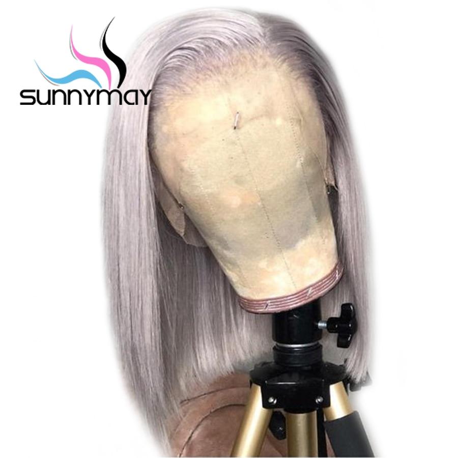 Sunnymay 13x4 Cinza Perucas de Cabelo Humano Em Linha Reta Cor Pré Arrancadas Curto Bob Perucas Cabelo Remy Parte Dianteira Do Laço Humano perucas de cabelo Nós Descorados