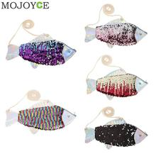 Fish Reversible Sequin Kids Handbags Coins Purse Shiny Messenger Shoulder