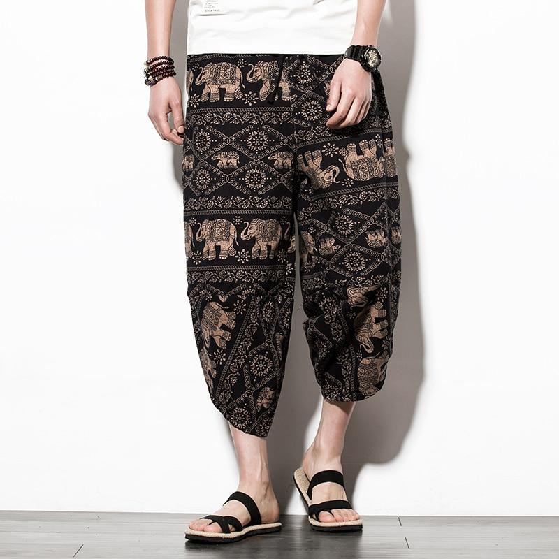 Summer fashion Elephant printing Cotton casual Shorts Men Loose Elastic waist Bloomers Nepal Wide Leg Big Size Shorts