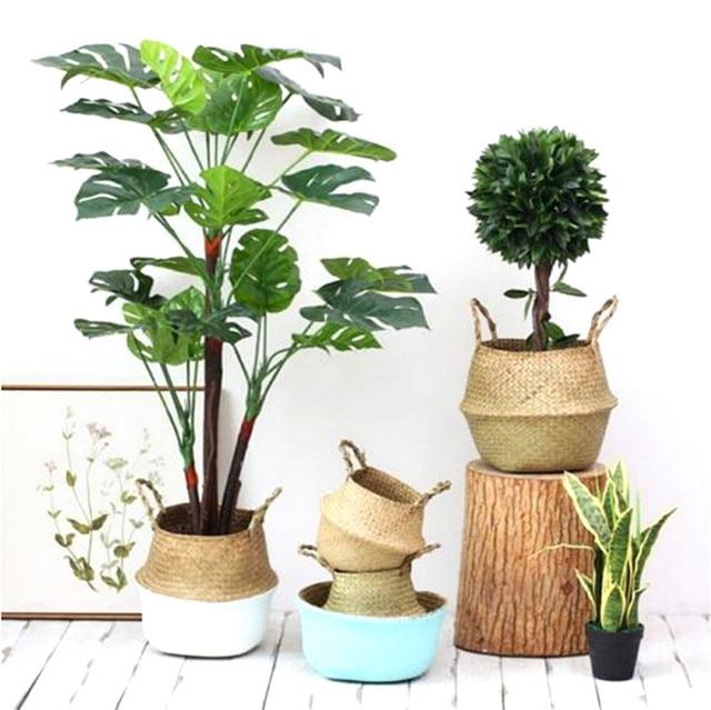 2018 ביתי Seagrass ארוג אחסון סיר גן פרח אגרטל סל תלוי + ידית בית תפאורה