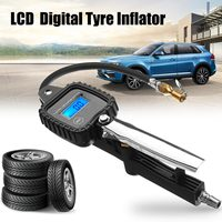 LCD Digital Tyre Inflator Metal Air Pressure Tire Gauge Meter With Hose for Car Truck Motorcycle Tire Tester Monitoring System