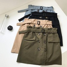 2019 Summer High Waist Mini Skirt Elegant Belted Buttons Decor Cotton Short Army Green Khaki