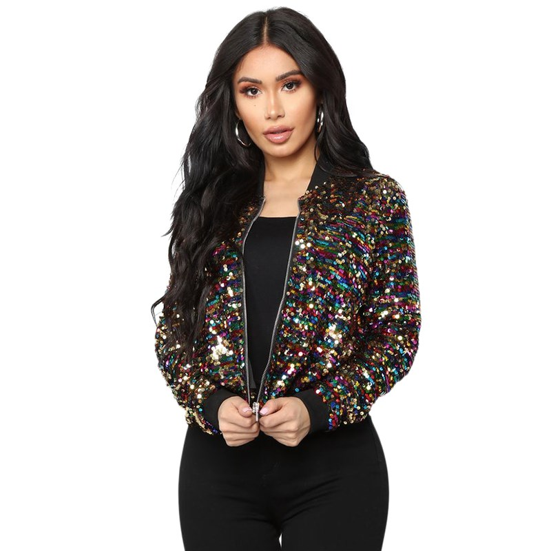 2019 Fashion Women Colorful Sequin Bomber   Jacket   Casual Long Sleeve   Basic     Jackets   Street Bling Bling Glitter Coat