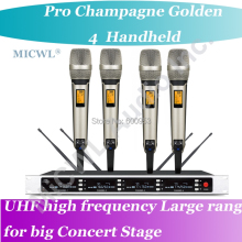 MICWL SP4 - SKM9000 Pro Radio Wireless DJ & Karaoke Microphone System High-End Gold 4 Handheld UHF LED digital micwl 2038v high end 8 lapel lavalier mics uhf led digital radio cordless wireless karaoke microphones system
