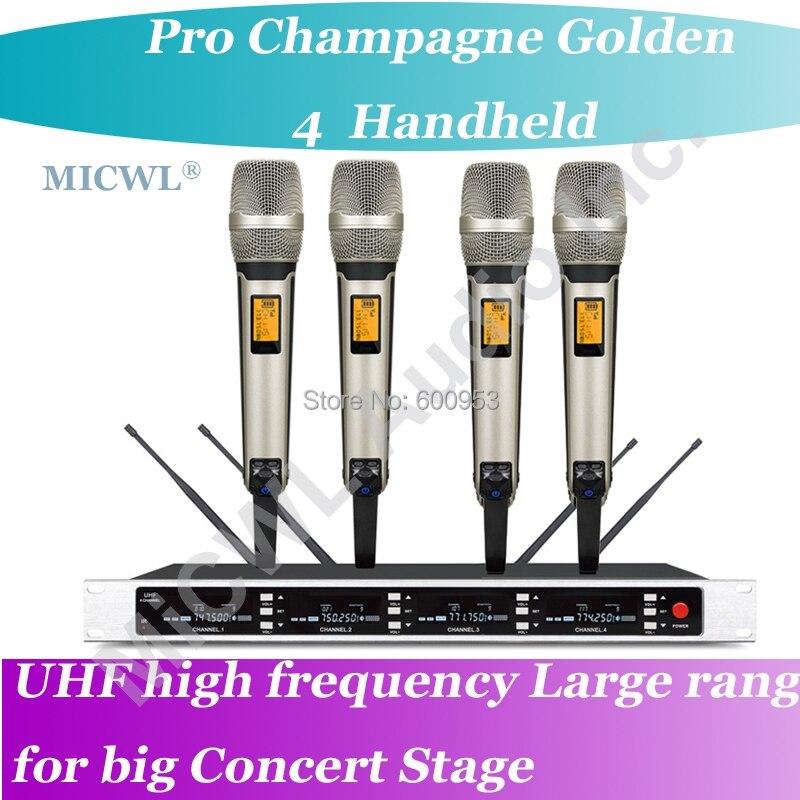 MICWL SP4 SKM9000 Pro Radio Wireless DJ & Karaoke Microphone System High End Gold 4 Handheld UHF LED digital