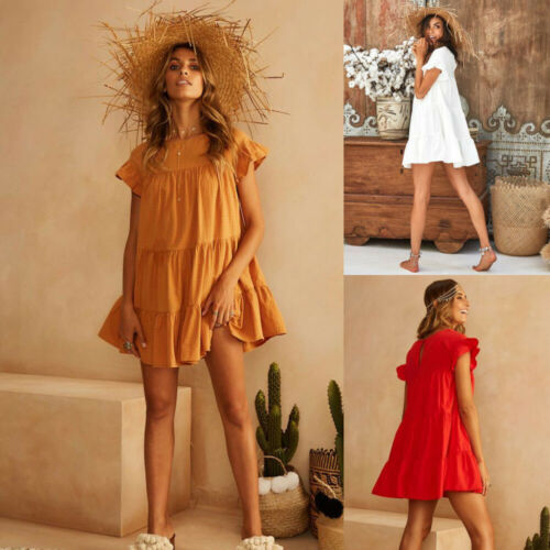Fashion Casual Womens Ladies Dresses Summer Short Sleeve Mini Tank Dress Sweet Loose Beach Sundress Red White Yellow in Dresses from Women 39 s Clothing