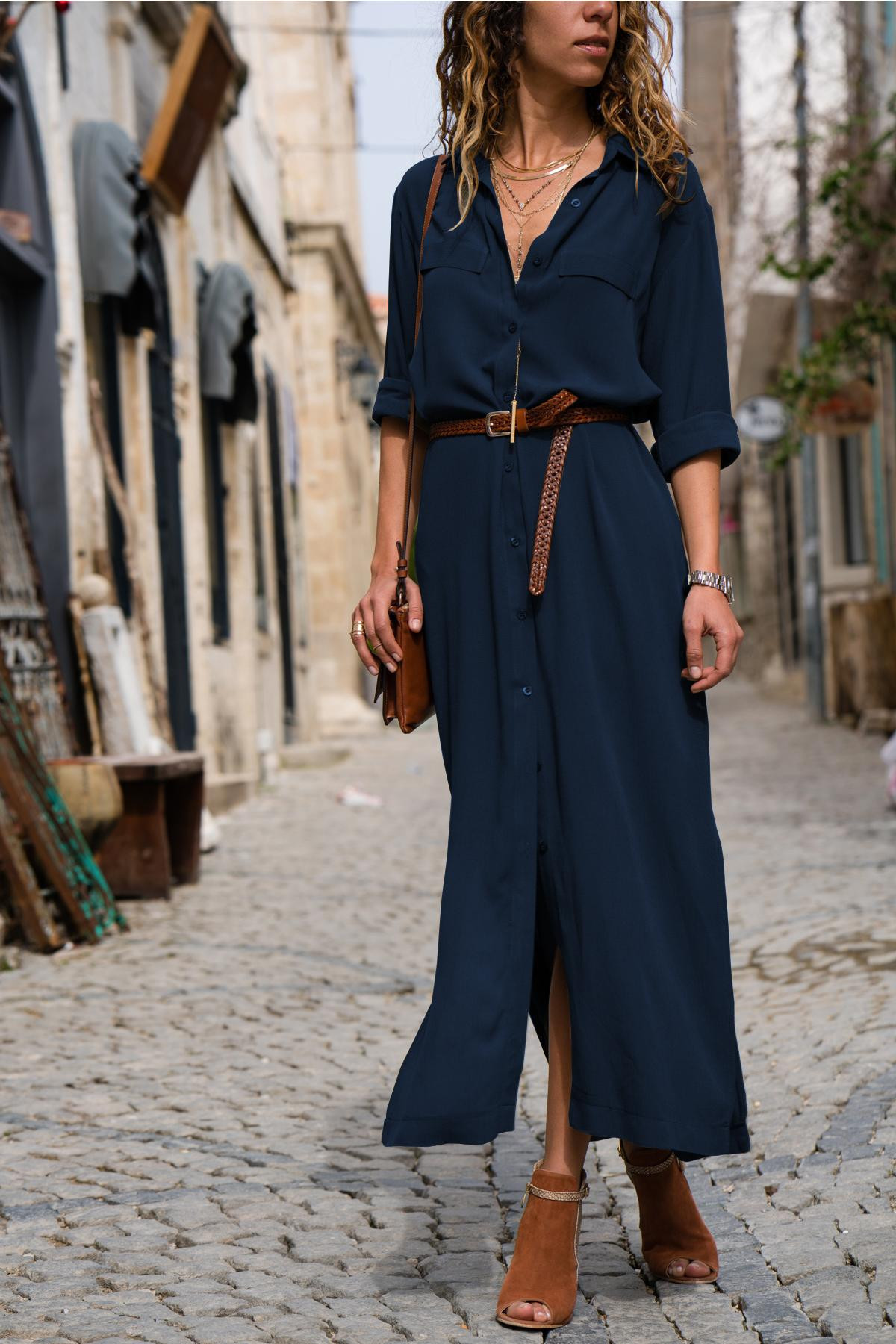 Women Loose Long Shirt Dress Fashion Women Single Breasted Dress Ladies Casual Solid Color Long Sleeve Maxi Dresses Plus Size in Dresses from Women 39 s Clothing