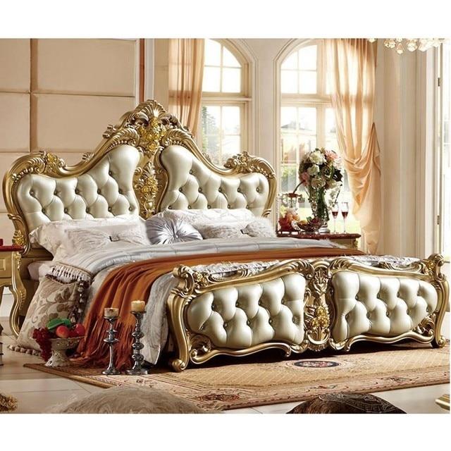 € 1884.95 |Offre spéciale chambre à coucher ensemble en cuir lit cama Para  Quarto Style européen chambre à coucher ensemble avec sculpture sur ...
