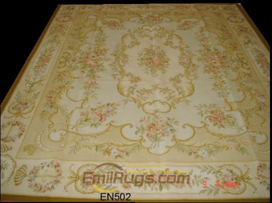 Tapis tricotés à la main tapis pour salon motif Aubusson tapis laine tapis à tricoter