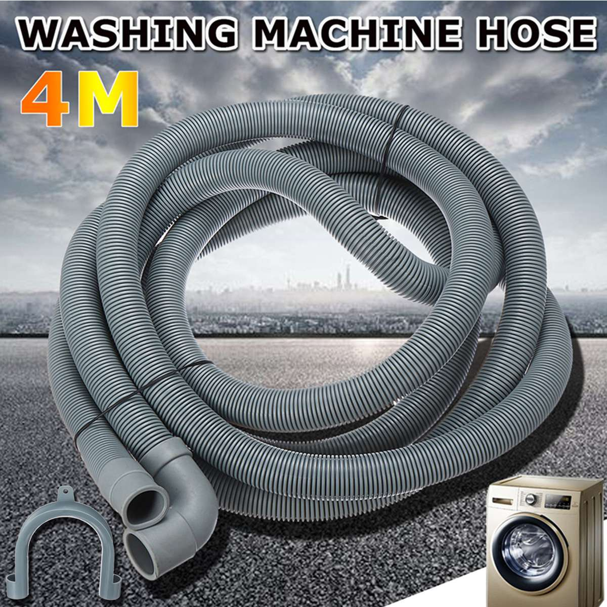 New 4M Wash Machine Dishwasher Drain Hose Outlet Water Pipe Flexible Extension 22mm With BracketNew 4M Wash Machine Dishwasher Drain Hose Outlet Water Pipe Flexible Extension 22mm With Bracket