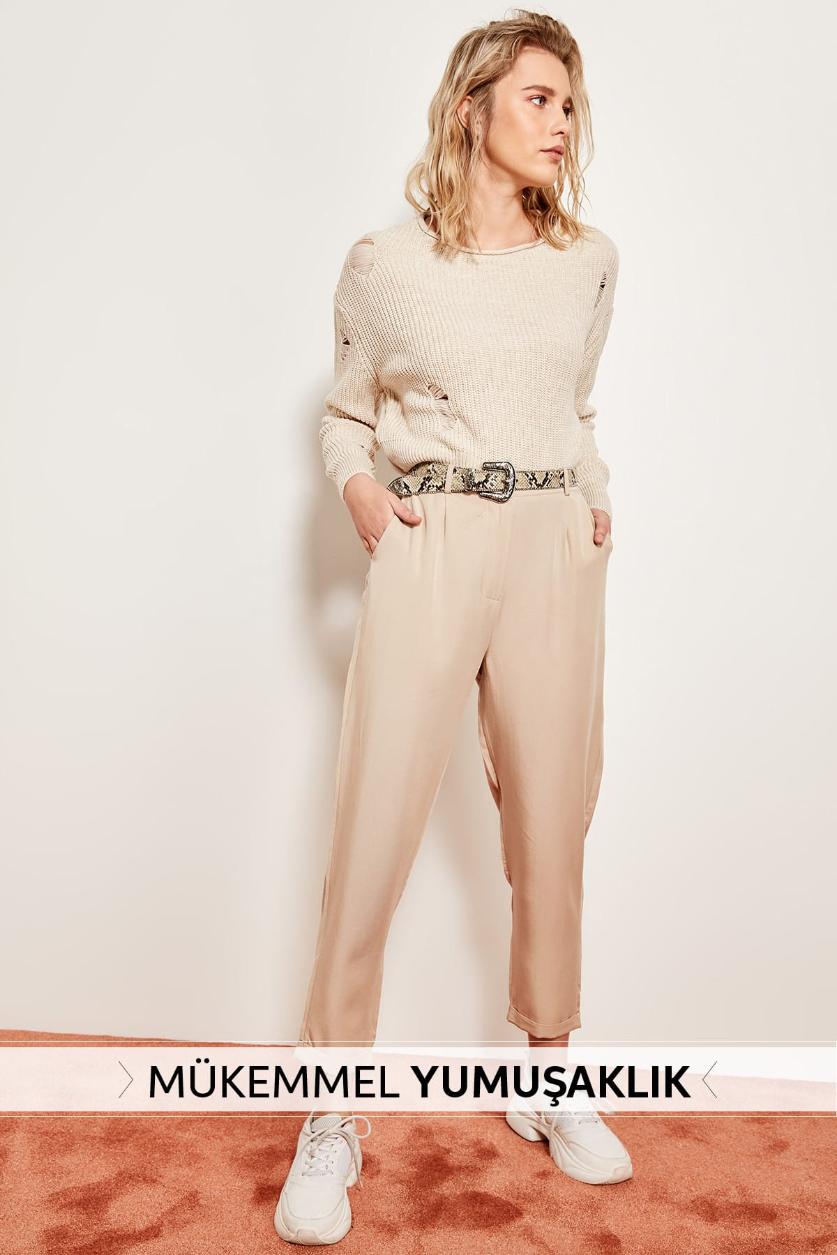 Trendyol Carrot Stone Lyocell Trousers TOFSS19ST0009