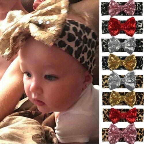 Cinta para el pelo con lazo estampado de leopardo para bebés y niñas