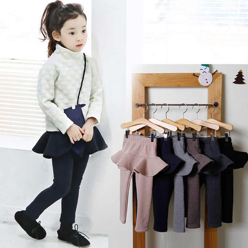 2019 Pure Color Girls Pants Kids Leggings 2-10Y Children Clothing Autumn Cotton Leggings Warm Baby Girl Skirt-pants High Quality