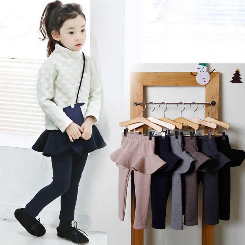 2019 Pure Color dziewczyny spodnie dzieci legginsy 2-10Y dzieci odzież jesień bawełniane legginsy ciepłe dziewczynka spódnica-spodnie wysokiej jakości