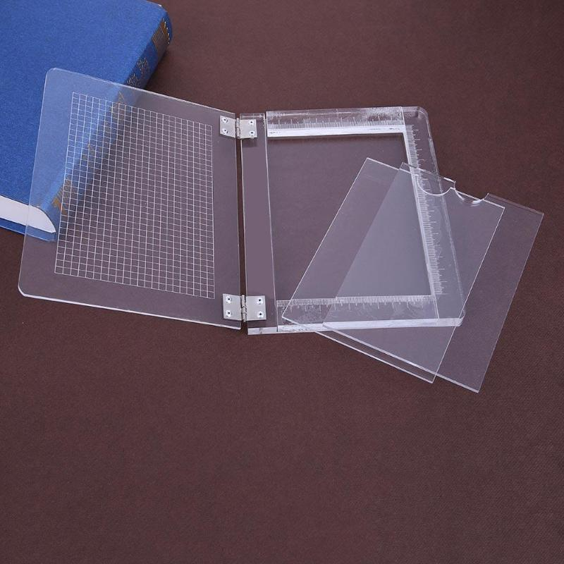 DIY Clear Handle Seal Stamp Block For Scrapbooking Photo Album Acrylic Stamps Positioning Tool Scrapbooking Accessories