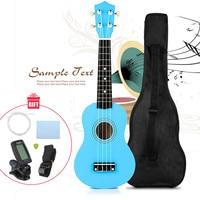 21 Ukulele Soprano Hawaii Guitar Wood Instrument + Electric Tuner + Strings + Pick + Strap + Carrying Bag Kit Gifts