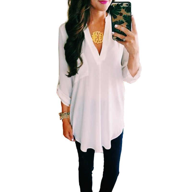 Шифоновая Блузка с v-образным вырезом для беременных; летняя модная одежда для беременных; белые рубашки; свободные топы; однотонная Одежда для беременных женщин