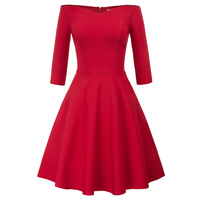 formal party 3/4 sleeves off shoulder V neck sexy women dress red black slash neck slim fit pleated classic ladies dresses