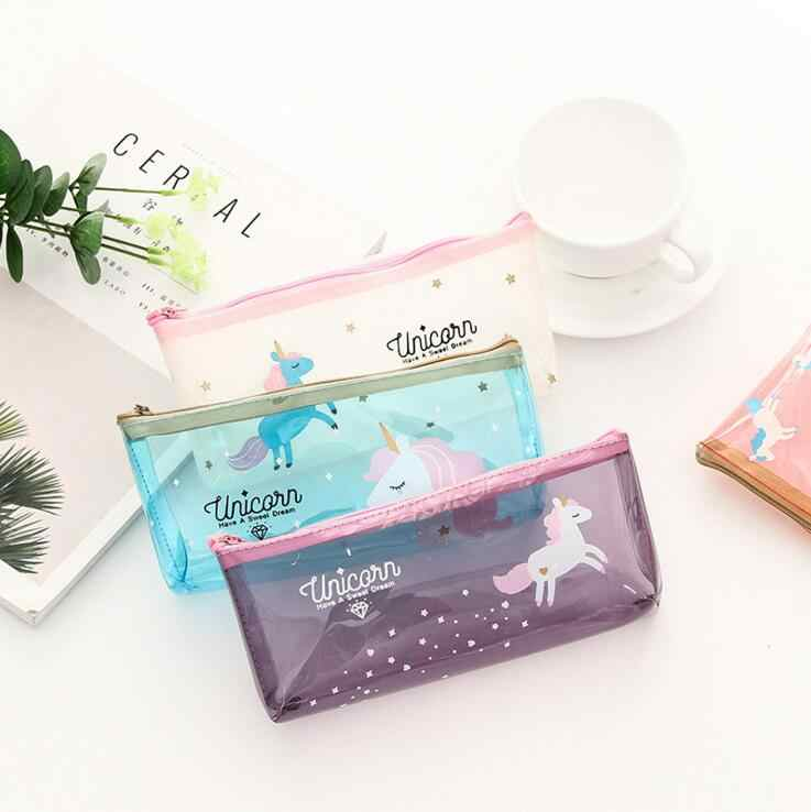 Ellen Brook 1 Piece Kawaii Cute Unicorn Transparent Pen Pencil Bag PVC School Office Stationary Receive Pouch Cosmetics Case