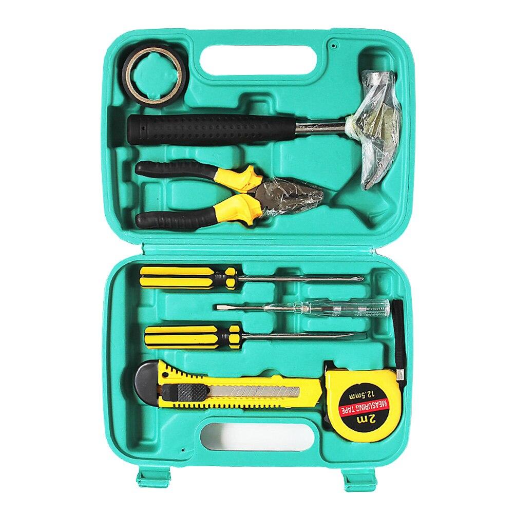 9 stücke Stück Hand Tool Set Holzbearbeitung Haushalt Hand Tool Kit Mit Hammer Zange Schraubendreher Messer Universal Schlüssel Reparatur Werkzeuge