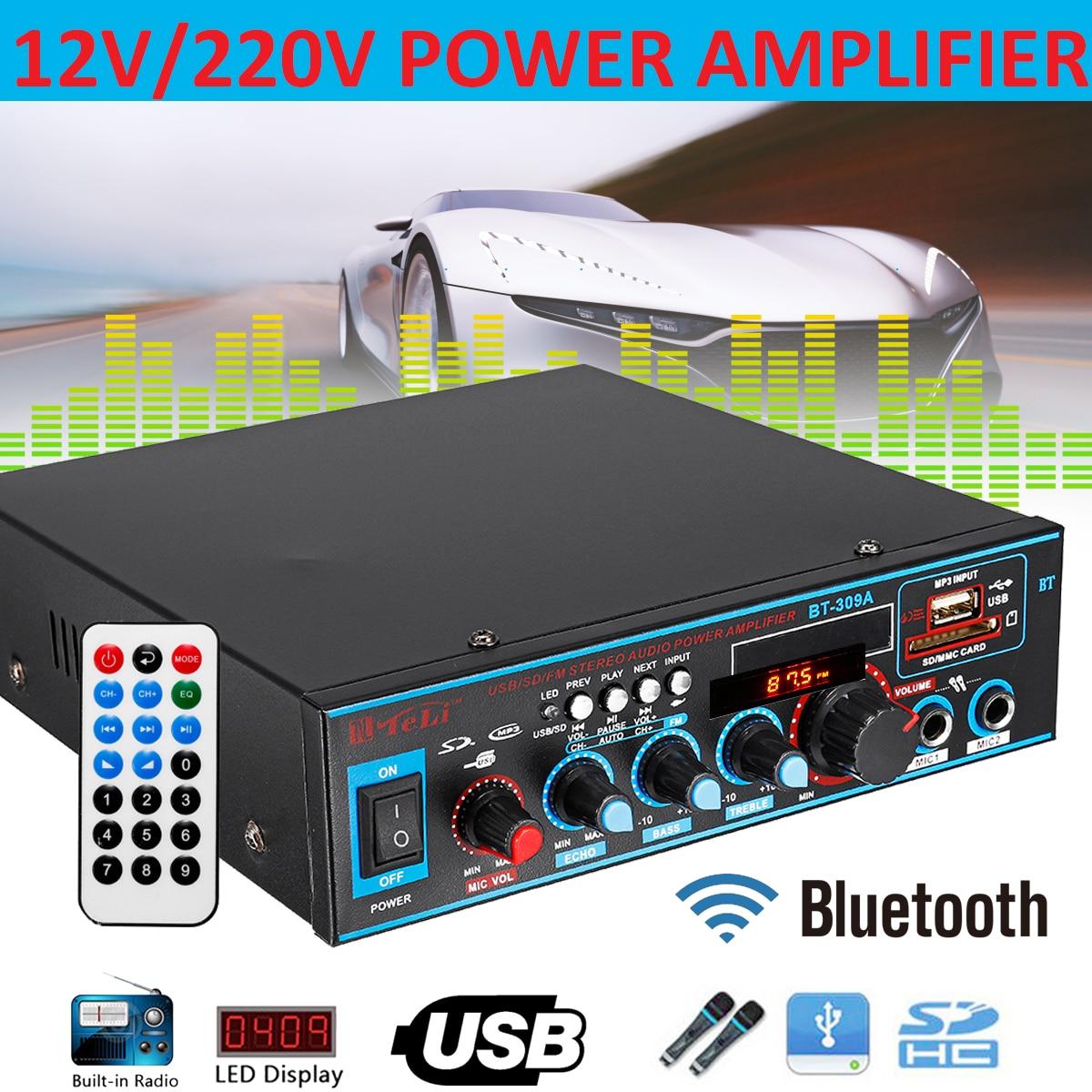 220V 12V 800W Car Audio Stereo Power Amplifier Bluetooth USB FM Radio Home Theater Karaoke Amplifiers Audio Music Loudspeaker 300w 300w 2 channel hifi audio stereo power amplifier bluetooth fm radio car home theater amplifiers music player