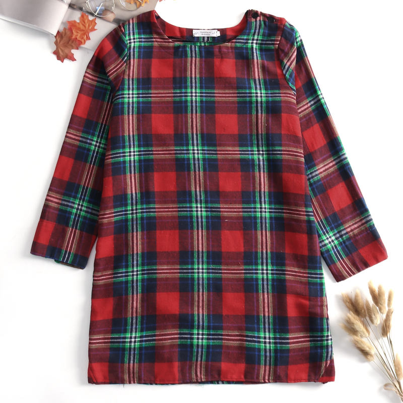 Vintage Boho Womens Dress Plaid Loose Long Top Shirt Blouse Kaftan Baggy Short Vestido Retro Shirt Robe Chemise Femme Shift