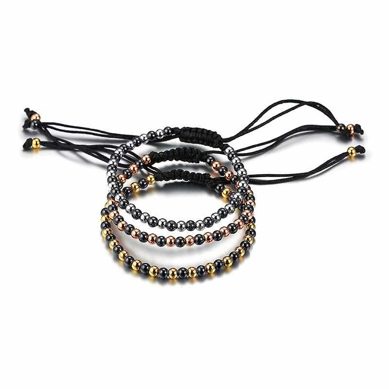 Hematite Bracelet Stainless Steel Beads Chain Bangle For Women Men Handmade Braided Adjustable Couples Stacking Unisex Jewelry