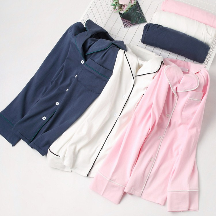 Pink/White Color Cotton Button Pockets Simple Sleepwear Suits Women Long Sleeve Pajama Sets