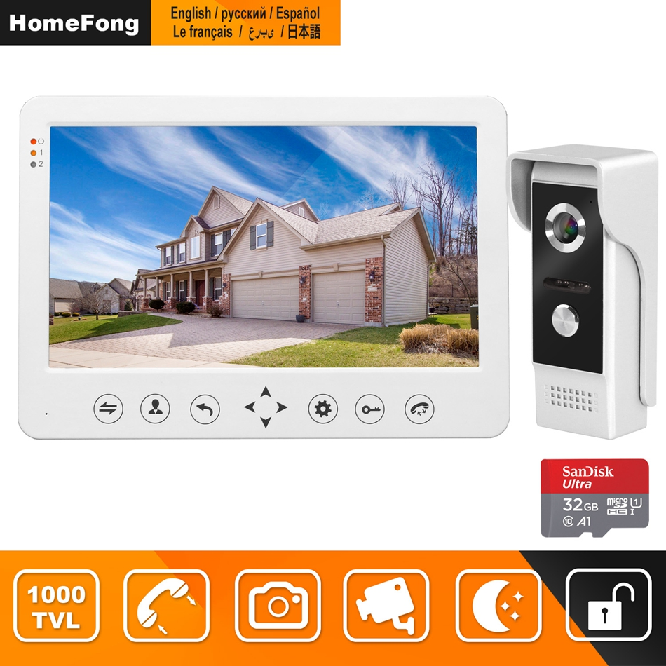 HomeFong Telefone Video Da Porta Vídeo Porteiro Com Fio para Casa 10 polegada Monitor de Campainha Suporte para Câmera de Detecção de Movimento de Gravação/CCTV câmera