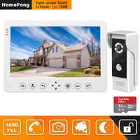 HomeFong Video Door Phone Wired Video Intercom for Home 10 inch Monitor Doorbell Camera Support Motion Detect Record/CCTV Camera
