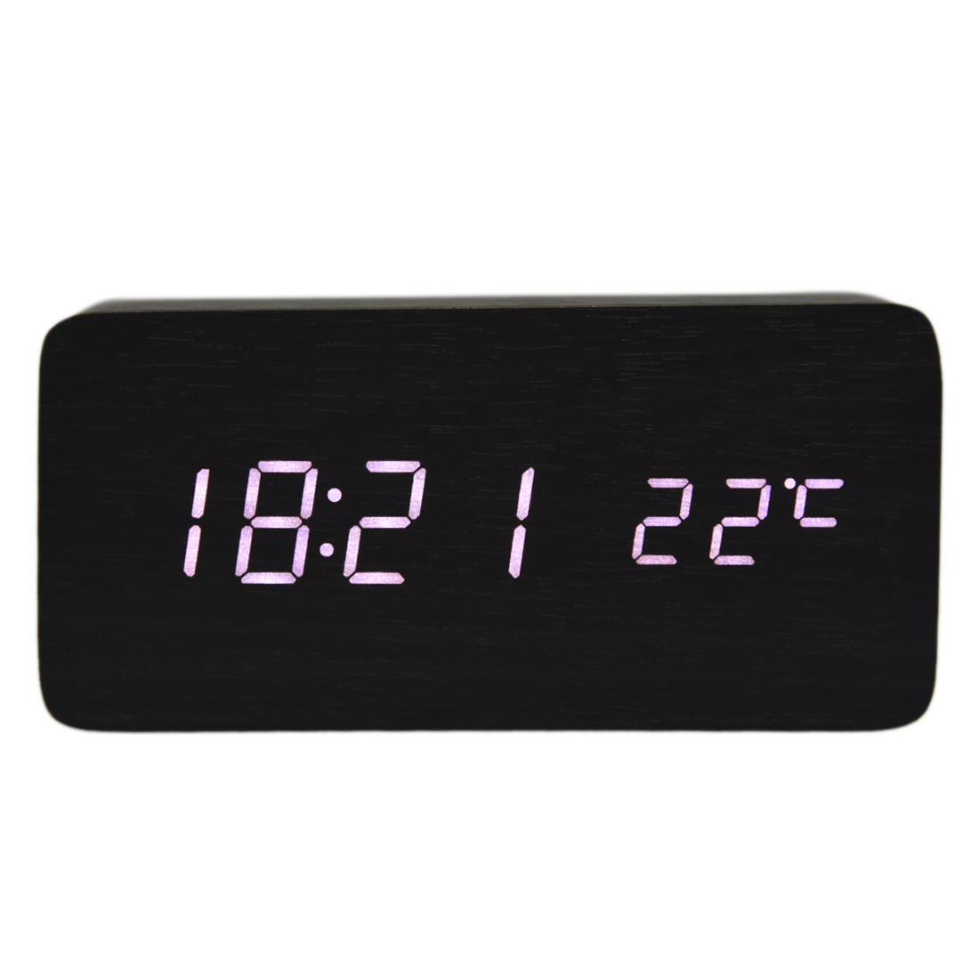 Hot Sale-【Voice Control Calendar Thermometer】Rectangle Wood Wooden LED Digital Alarm Clock USB/AAA Black Wood White LED