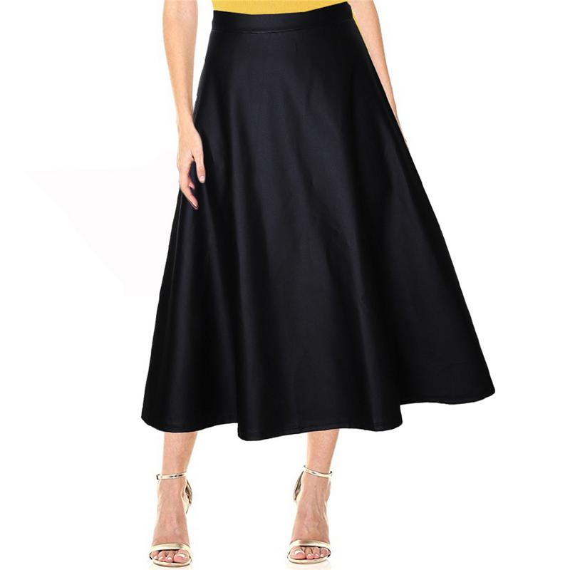 Autumn Winter Women Skirt Fashion PU Leather Solid Long Skirt High Waist A-lined Swing Vintage Retro Style Maxi Skirt Saias S-XL