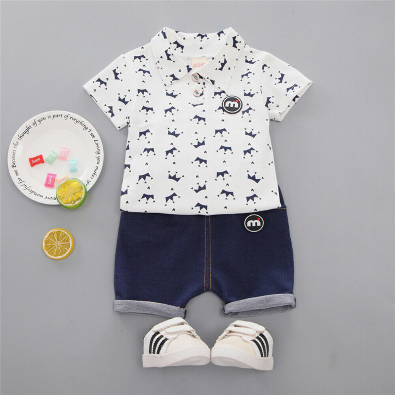 >Toddler Boy <font><b>Clothes</b></font> Toddler Kid Boy <font><b>Clothes</b></font> <font><b>Small</b></font> <font><b>Crown</b></font> Tops T-Shirt Shorts Pants 2Pcs Outfit Set Cotton O-neck Short Sleeve