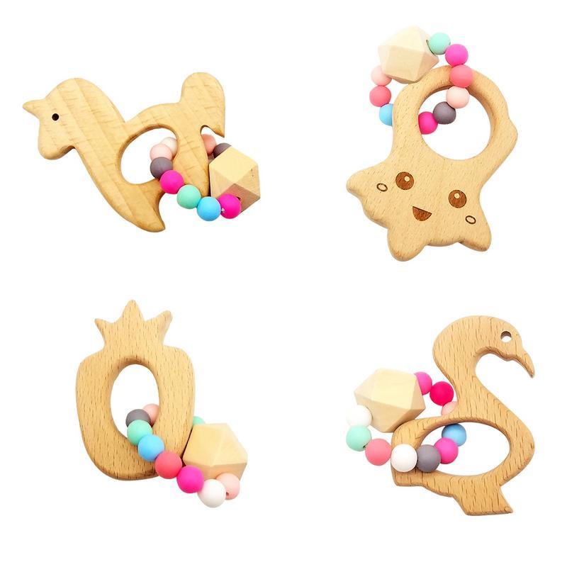 1 Pc Baby Holz Beißring Baby Rassel Häkeln Perlen Geschenke Für Neue Jahr Zahnen Armband Food Grade Beißring Sicheres Spielzeug Reisen