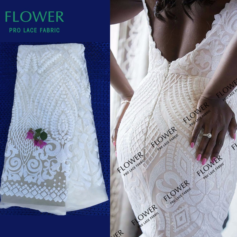 African Wedding lace fabric High Quality latest African Guipure Embroidered fabric with beadedfor Nigerian Wedding Dresses