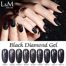 6 Pcs Dark Glitter Nail Art Varnish  15 ml 9 Color Supper Diamond Shining Glitter Gel Black Diamond Gel цена 2017