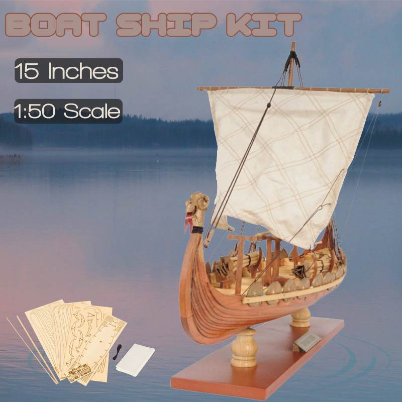 Wooden Sailing Boat Model Drakkar Dragon Viking Classic Sailboat Assembly Ship Model Building Kits DIY Toy Decoration Gift