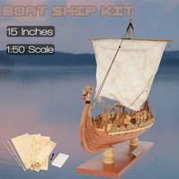 Wooden Sailing Boat Model Drakkar Dragon Viking Classic Sailboat Assembly Ship Model Building Kits DIY Toy Decoration Gift