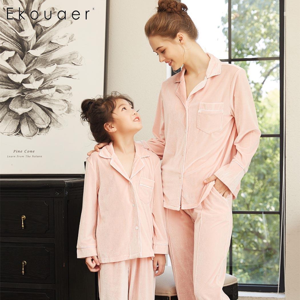 Ekouaer Long Sleeve   Pajamas   Kids and Mom Family   Pajama     Sets   Nightwear V-Neck Shirts Long Pants   Set   Sleepwear High Quality
