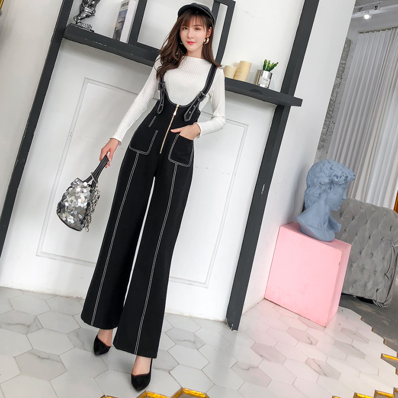 Pengpious winter new flare pants with zipper pockets and knit sweater long sleeves two pieces set fashion women 4
