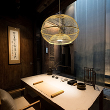 Japan Bamboo Led Wicker Rattan Ball Cage Pendant Light Fixture Vintage Dress  Rustic Hang Lamp Fitting Foyer Living Dining Room недорого